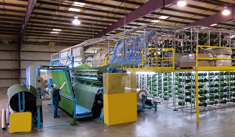 artificial turf manufacturing facility interior
